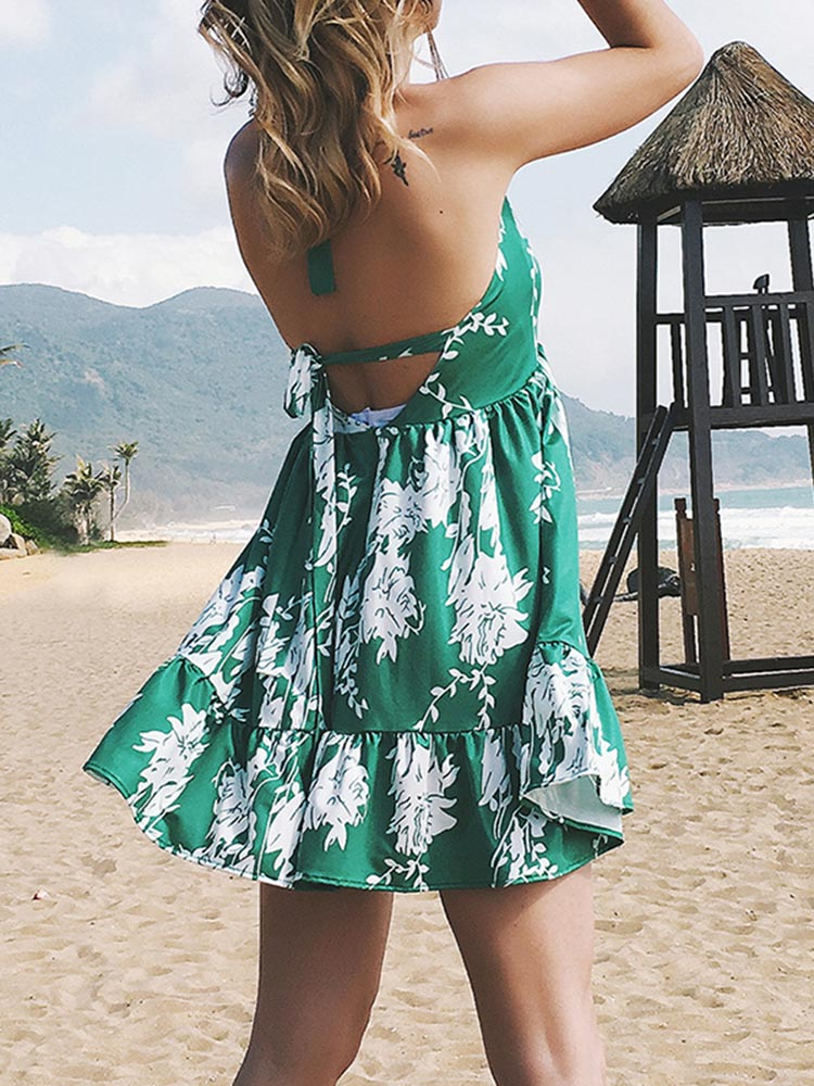 Botanic Print V-neck Mini Dress