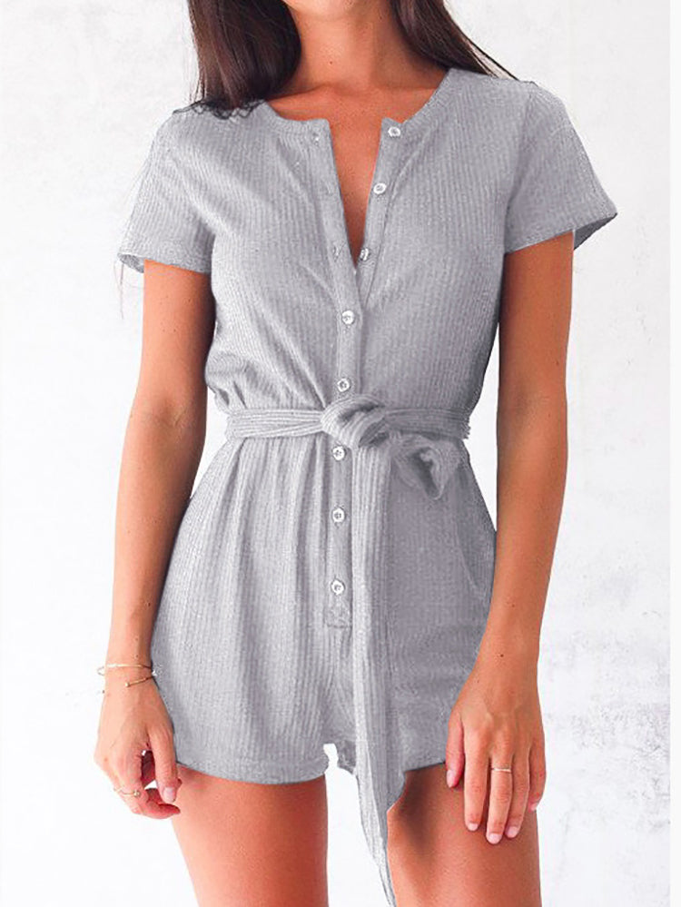 dc45b48ac99 Ribbed Knit Belted Romper – WhatsMode