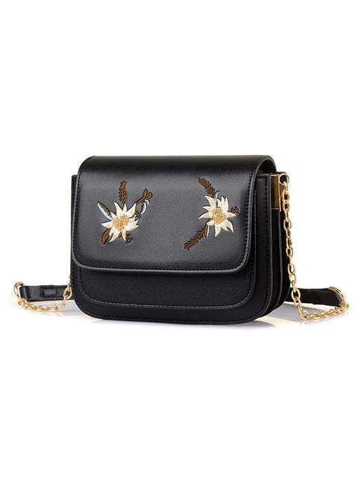 Embroidered Conpartmented Fold Over Chain Bag