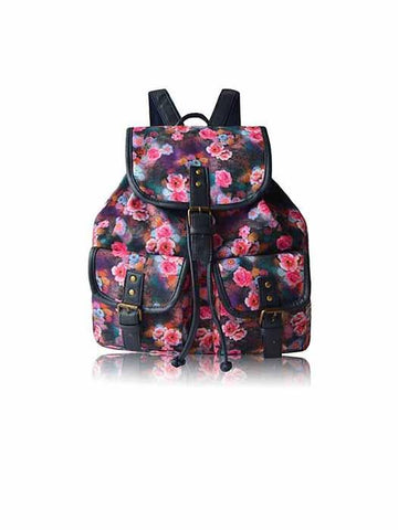 Vintage Mini Backpack With Floral Print
