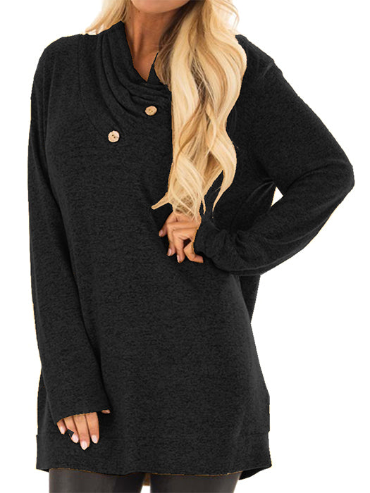Cowl Neck Soft Sweater With Button Details