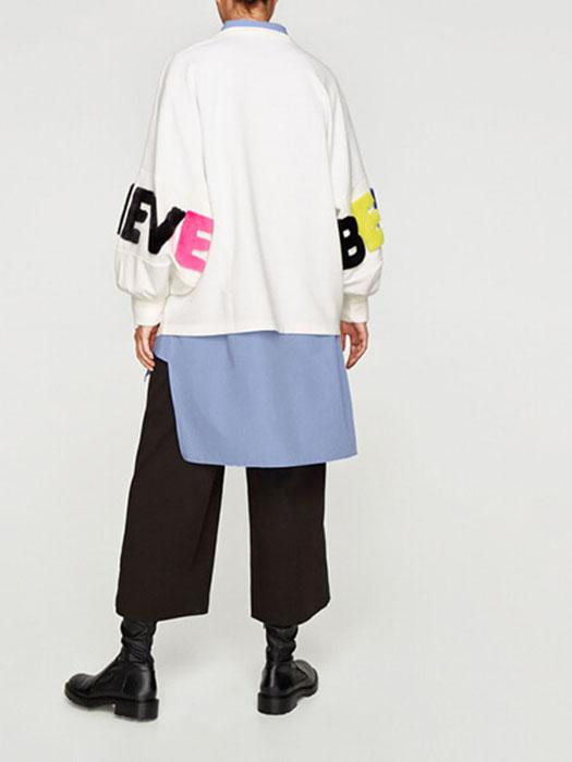 Oversized Multicolored Artificial Fur Letters Crew Neck Sweatershirt