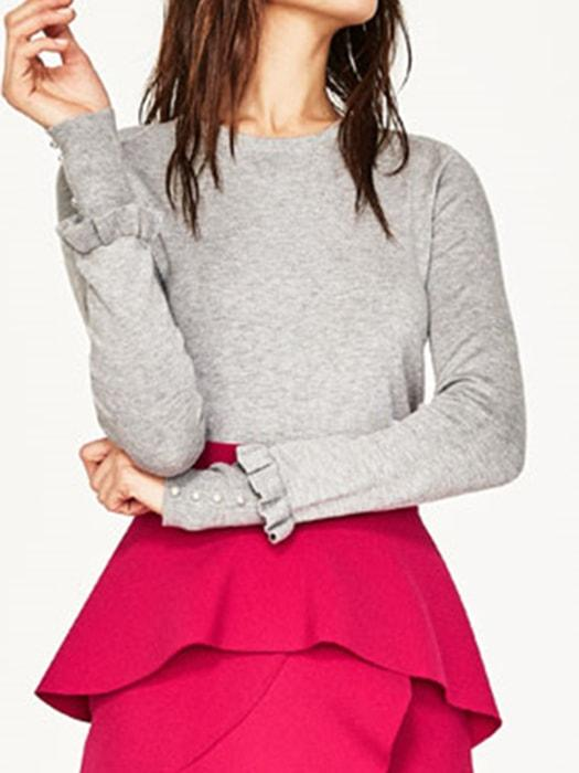 Multi-color Layered Sleeve Knit Top Sweater