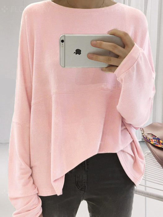 Basic Simple Style Solid Color Round Neck Long Sleeve Casual T-shirts
