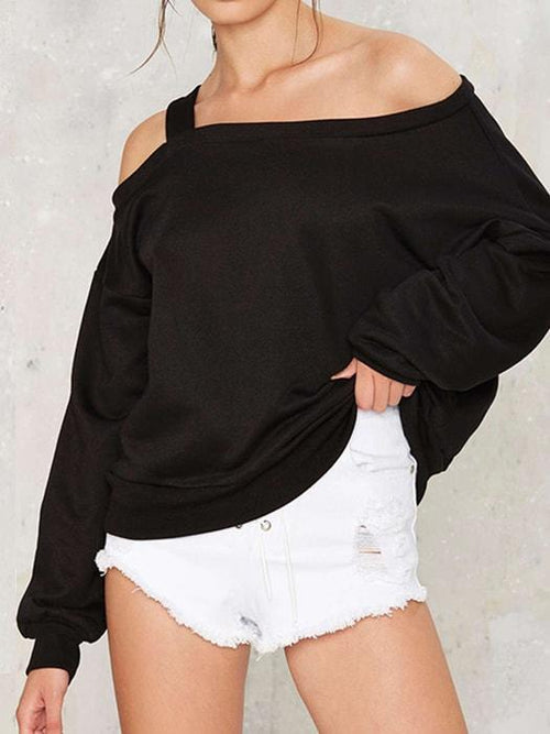 One Shoulder Chunky Sweatshirt With Drop Shoulder Sleeve