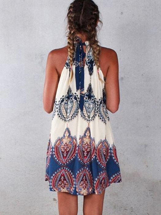 ab37be3a14 Boho Style Floral Print Halter A-Line Loose Beach Dress – WhatsMode