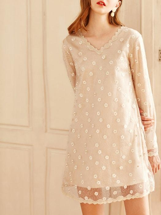 V-neck Lace Dress - Nude / S 1456