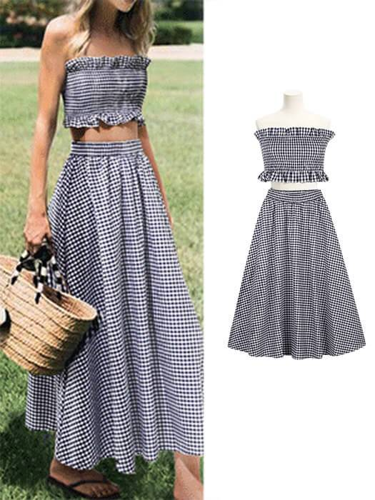 High Waist Plaid Skirt With Ruffled Tube Top