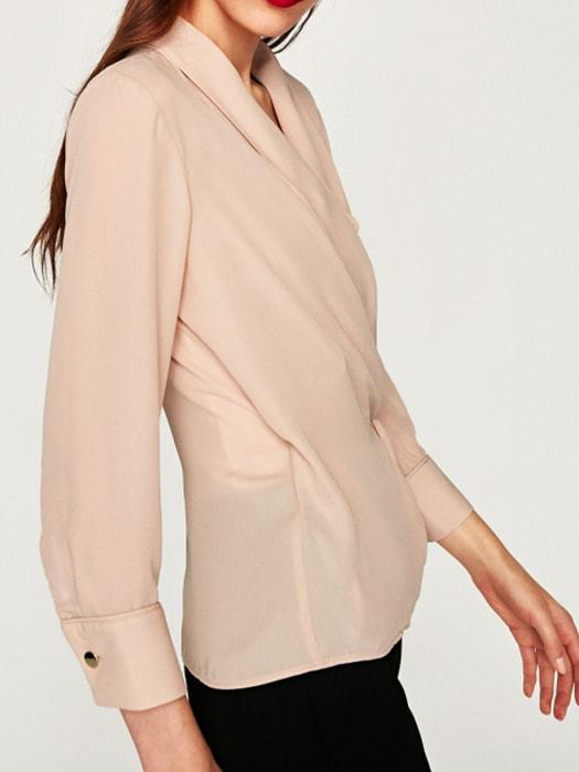 Nude Color V-neck Rolloff Blouser - Nude Pink / M 6356