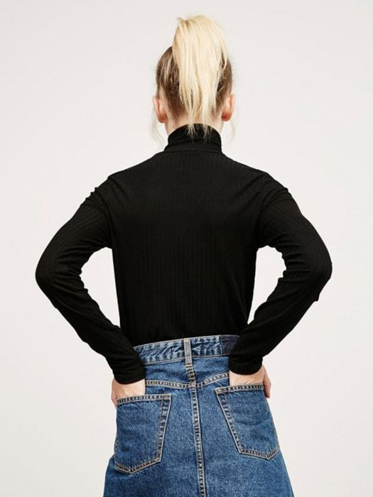 Basic Roll Neck Zip Through All Black Sweater