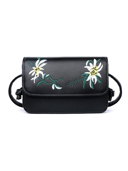 Embroidered Fold Over Cross Body Bag