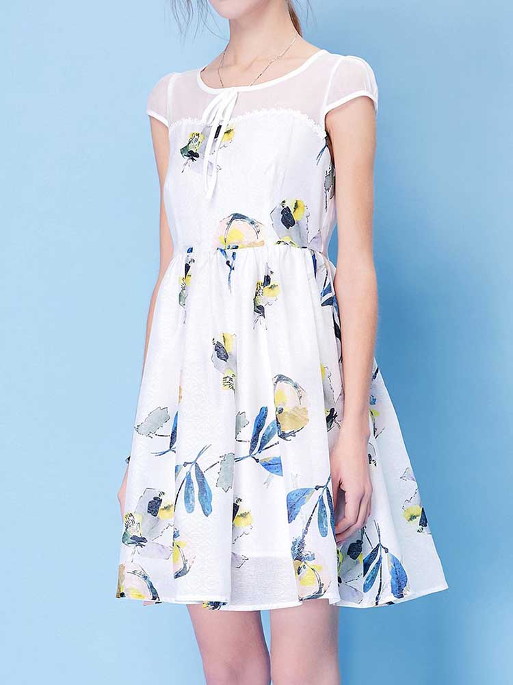 Sweet Floral Panel Dress