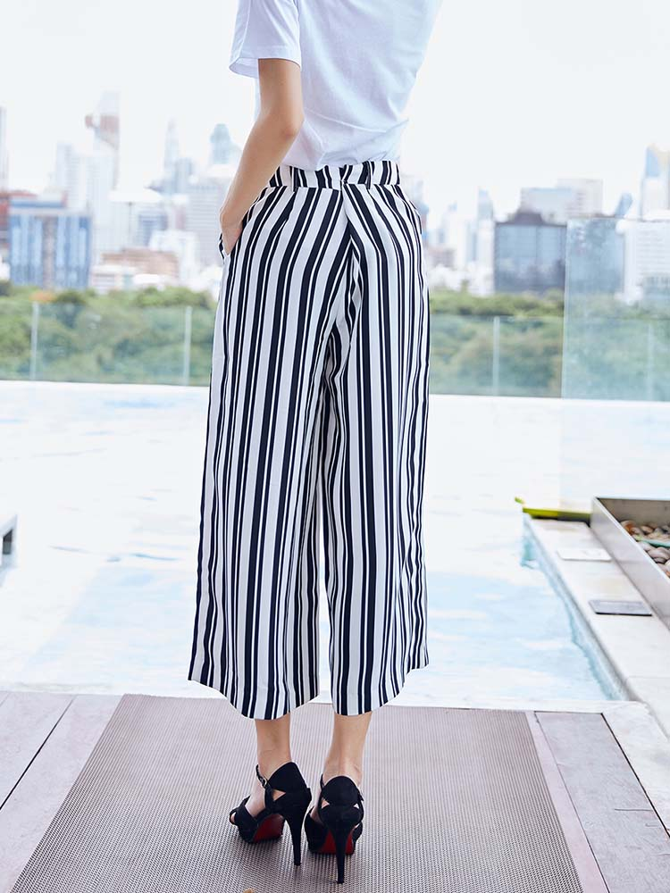 Chic Striped Chiffon Wide Leg Pants