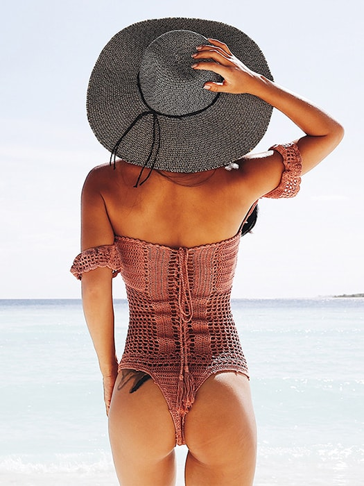 Sexy T-back One Shoulder HandWoven Swimsuit