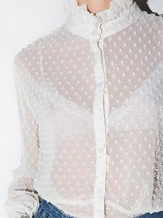 White Lace Cut Out Flared Sleeve Stand Collar Shirt