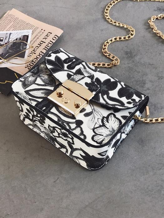 Color Contrasted Floral Chain Bag