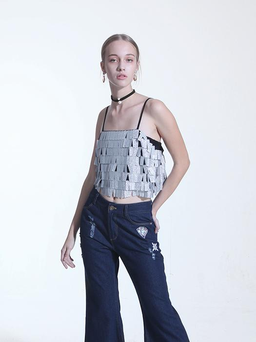 All-over Sequined Silver Vest With Shoulder Straps