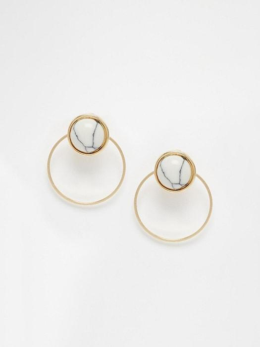 18K Gold-plated White Turquoise Ear Studs with Removable Hoops