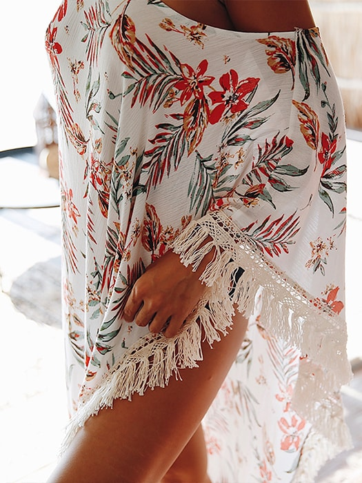 Floral Tasseled Asymmetric Beach Coverup