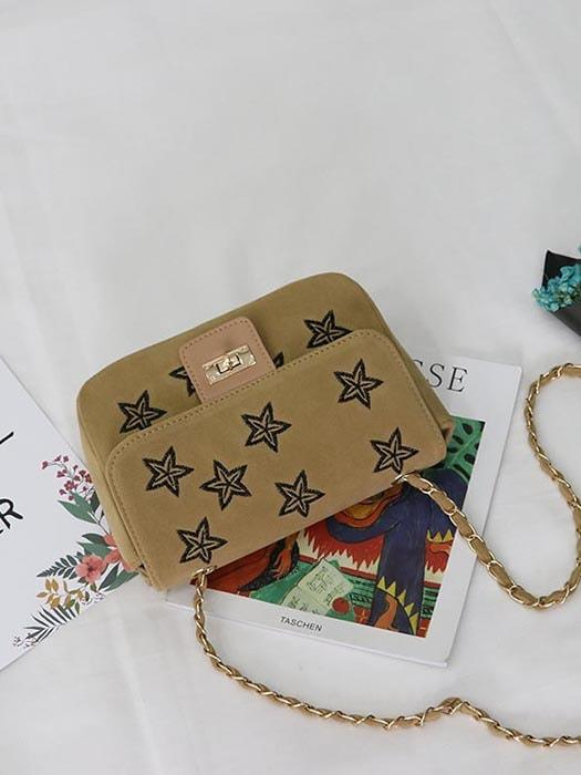 Scattered Stars Suede Cross Body Bag