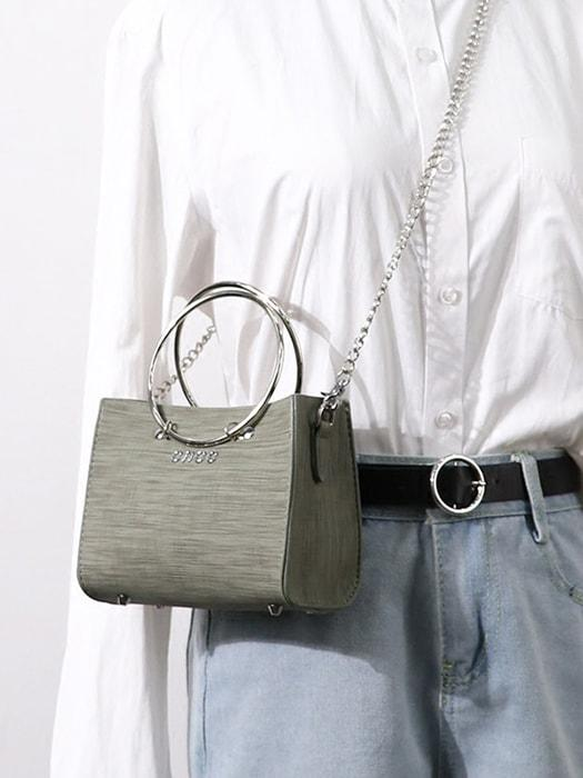 Ring Handle Chain Bag with Removable Purse