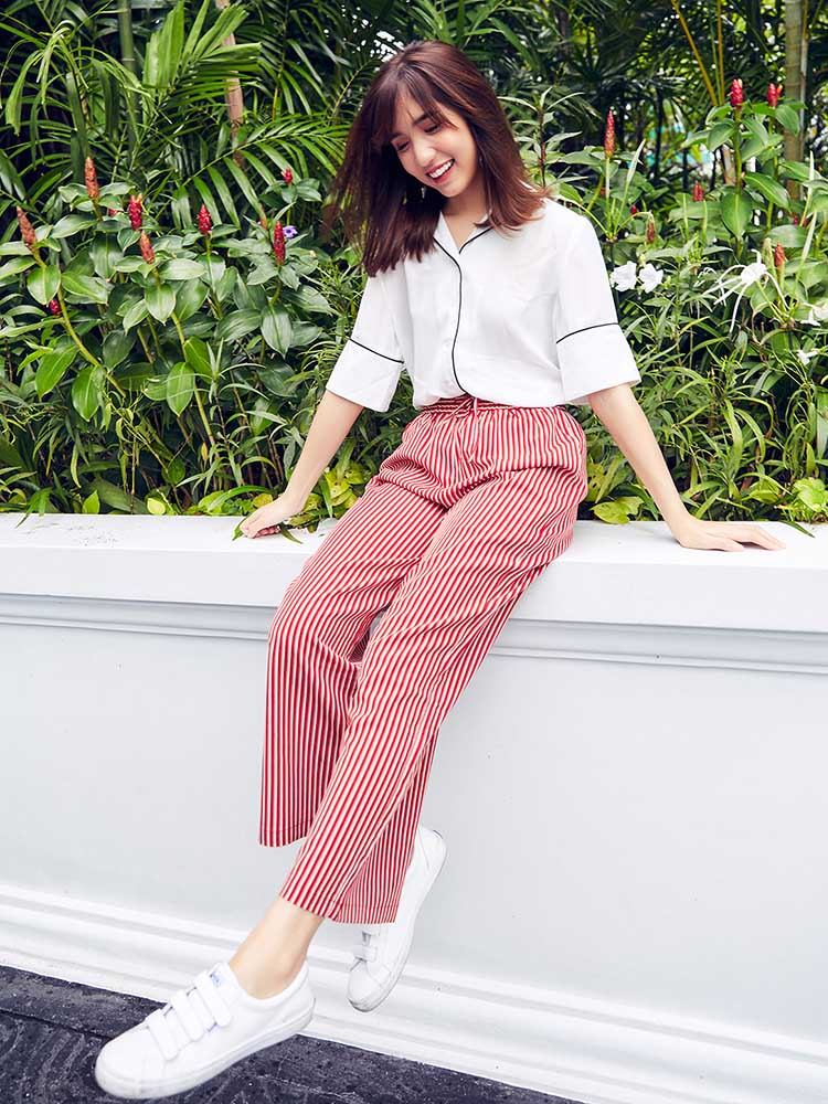 Chic Striped Wide Leg Pants