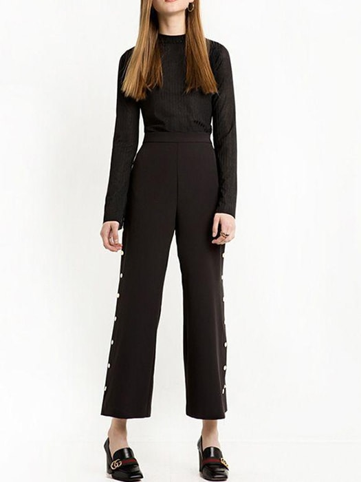 Mentallic Button Side Split Pants
