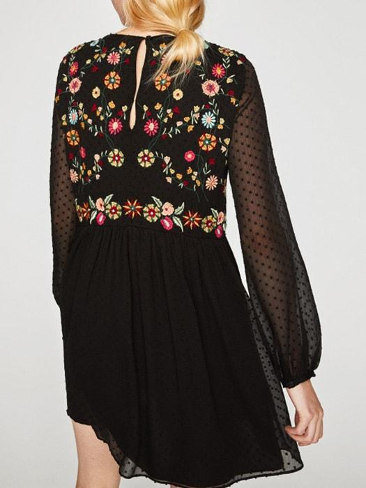 High Waist Spliced Floral Dress