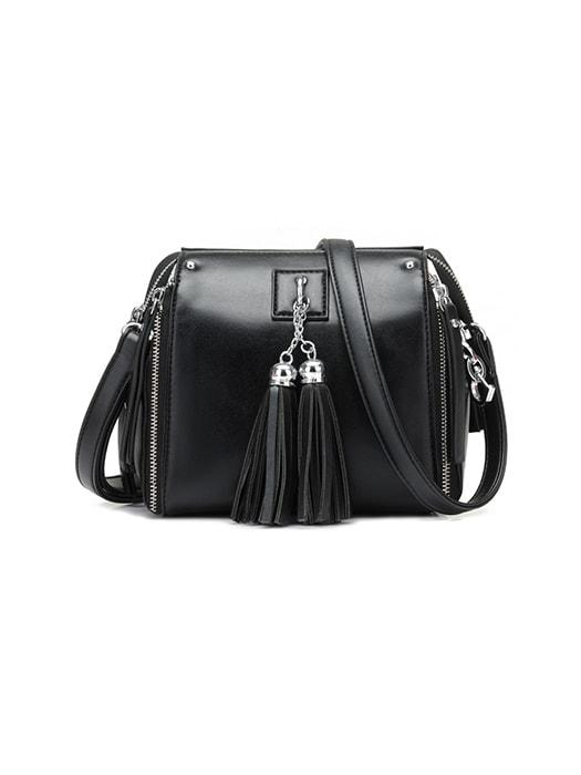 Trendy Tassel Detail Sided Zippers Shoulder Bag