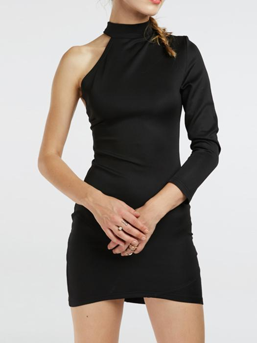 One-shoulder Choker Dress