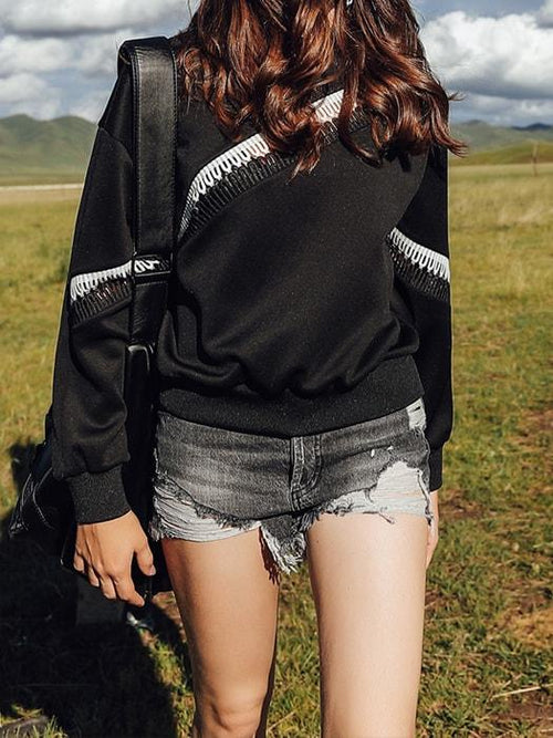 Hollowed-out Tassel Cross Over Sweatshirt