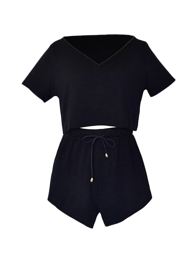 Casual Solid Sporty Top and Shorts Set