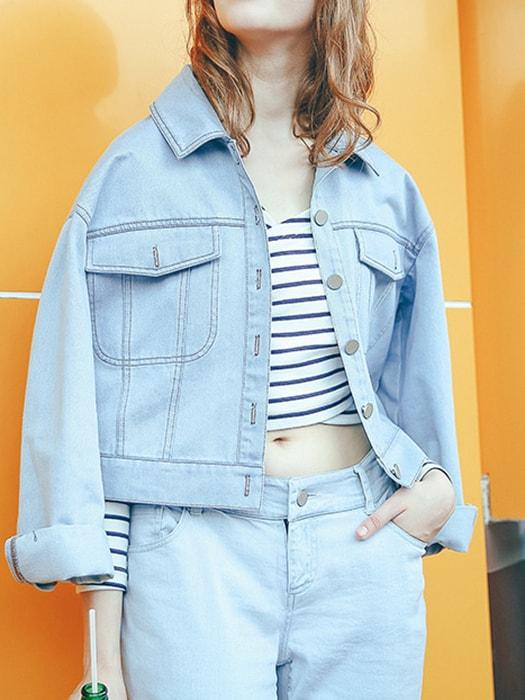 Back Motif Thin Denim Jacket