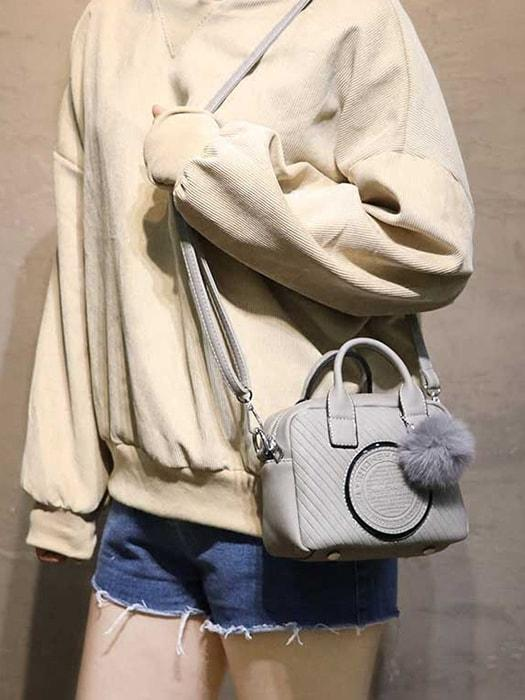 Solid Color Fluffy Crossbody Bag