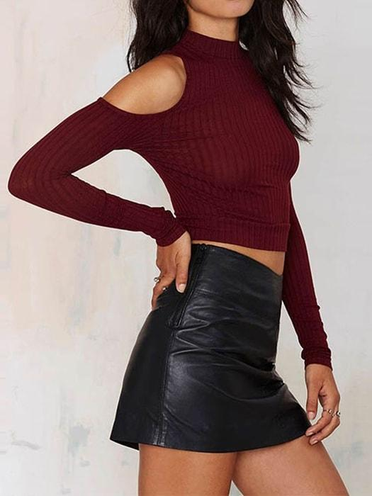 Bare Shoulder Solid Ribbed Roll Neck Sweater