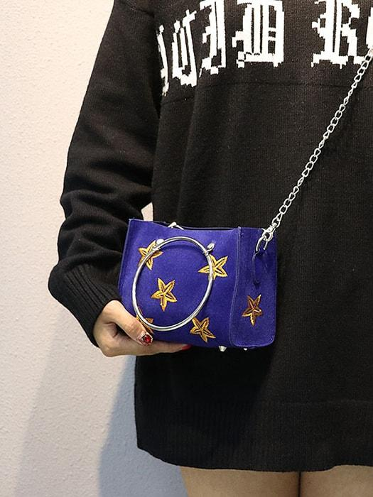 Stars Embroidered Hoop Handle Cross Body Bag
