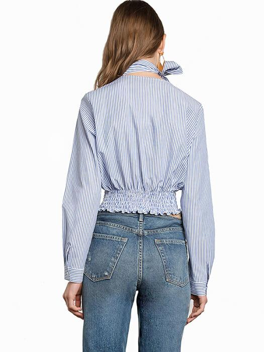 Frilly V-neck Pinstripe Top With Neck Bow Detail