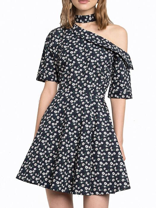 One Shoulder Floral Choker Detail Mini Dress