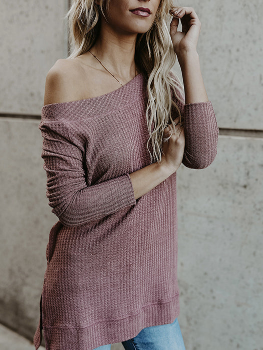 Women  Long Sleeve Solid Knitted Sweater Blouse Tops