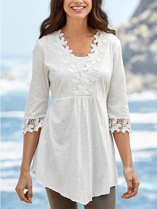 Half Sleeve Lace Casual Blouse Top