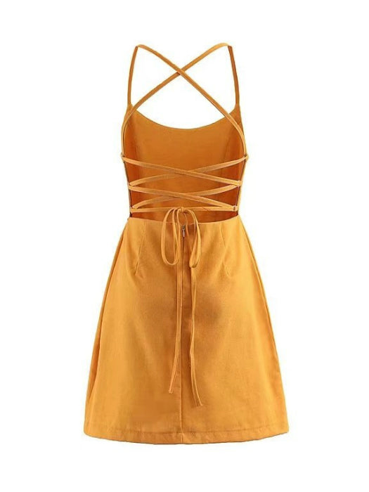 Strappy Back Slip Mini Dress