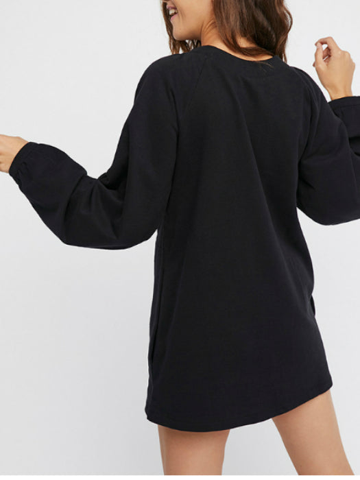 Escape Lace-up Black Shift Dress