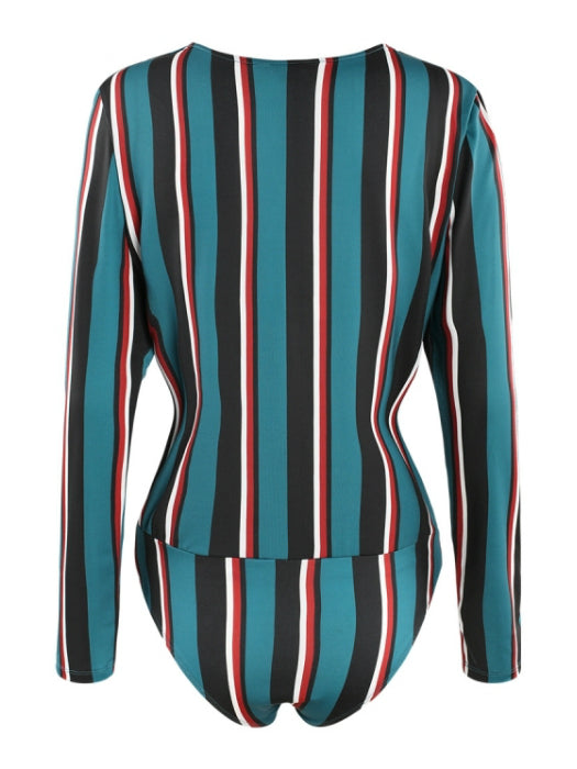 Chic Striped V-neck Bodysuit