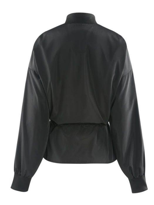 Oversized Black Peplum Bomber Jacket