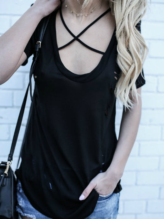Cotton Shredded Scoop Neck Top