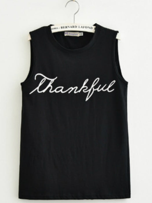 Casual Thankful Print Top