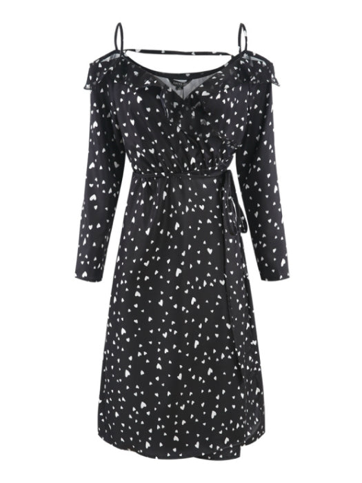 Chiffon Cold Shoulder Heart Spot Dress