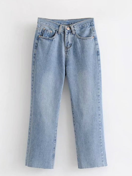 Casual High-waisted Wide-leg Jeans