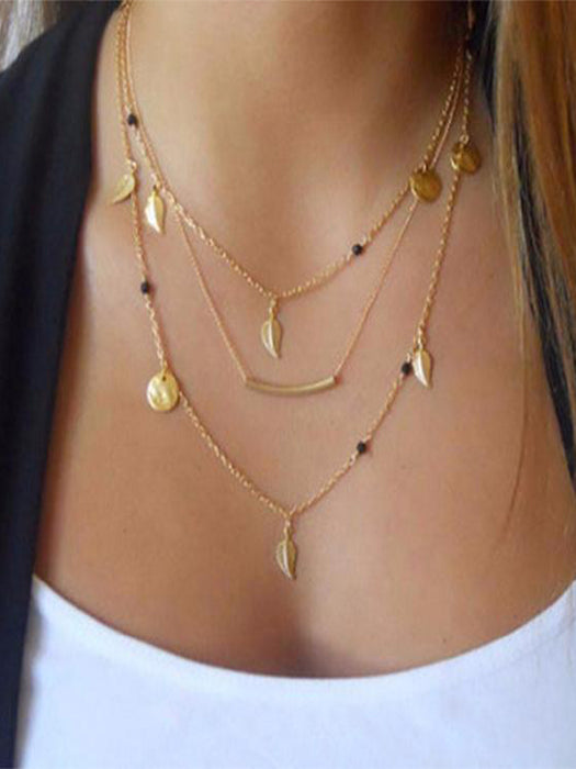 Gold Silver Beads Leaves Necklace