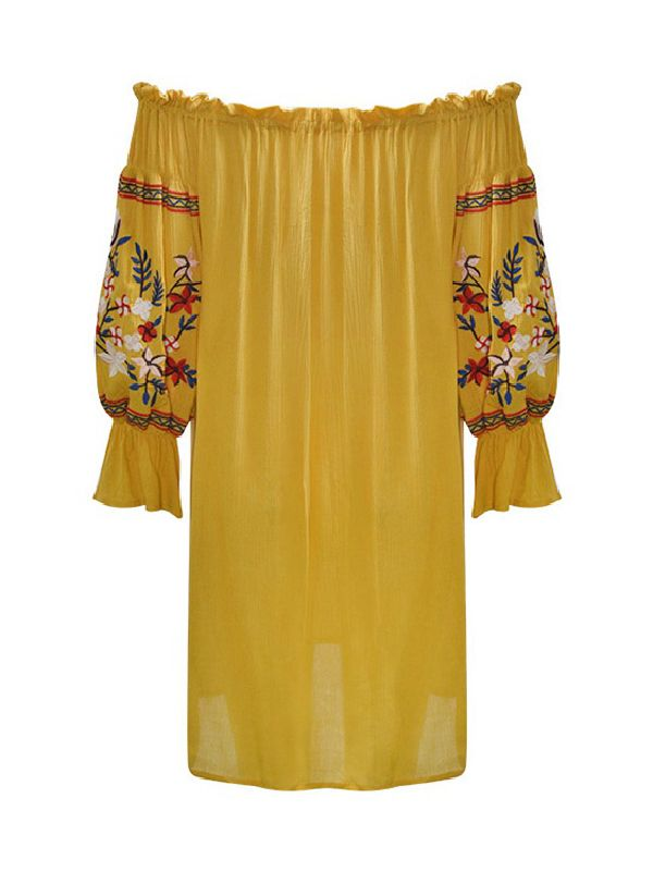 Yellow Embroidered Cold Shoulder Dress